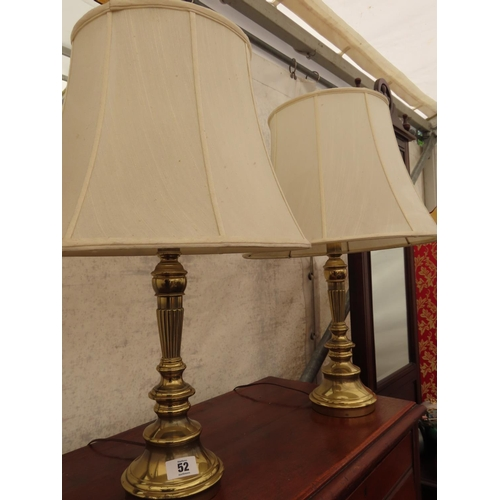 52 - Pair of Brass Table Lamps Including Shades Approximately 26 Inches Tall