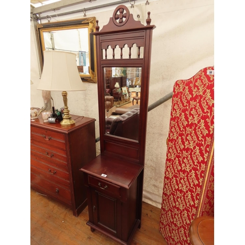55 - Mahogany Hall Stand with Mirrored Back and One Drawer Over Covered Base 84 Inches Tall x 20 Inches W...