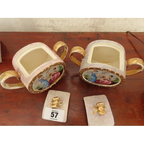 57 - Pair of Vintage Sadler Lidded Pots Featuring Classical Scenes