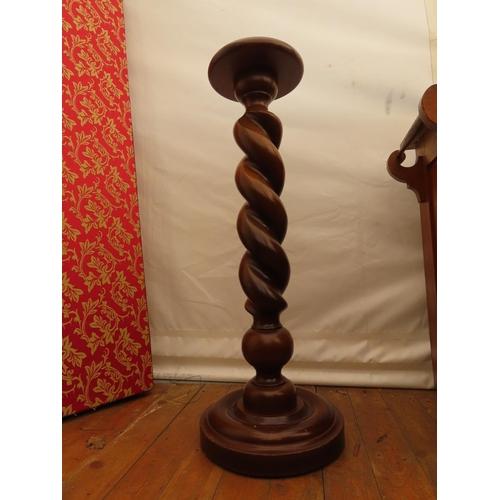 59 - Mahogany Barley Twist Pedestal Approximately 38 Inches Tall