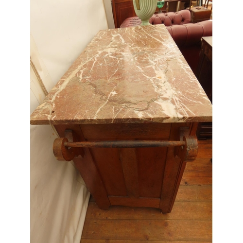 60 - Antique Marble Top Chest Drawers Two Short Drawers over Two Long Drawers 42 Inches Long x 20 Inches ...