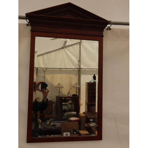 61 - Antique Mahogany Wall Mirror with Bevel Glass 40 Inches Tall x 21 Inches Wide