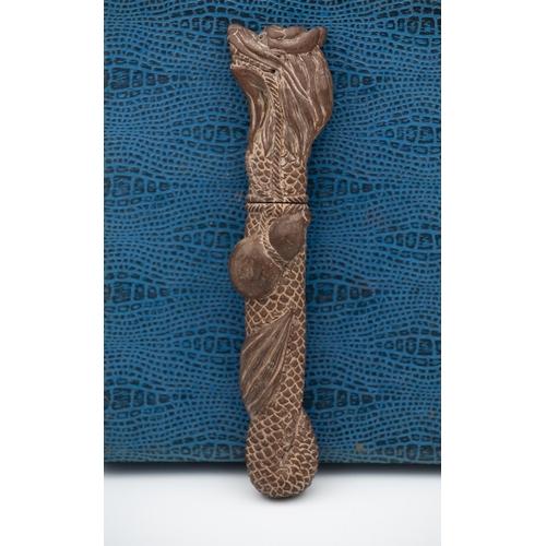Japanese Carved Wood and Bone Knife