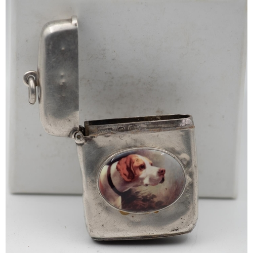 1002 - Old Silver Enamelled Decorated Dog Motif Vesta Case Hinged Cover Striker to Base