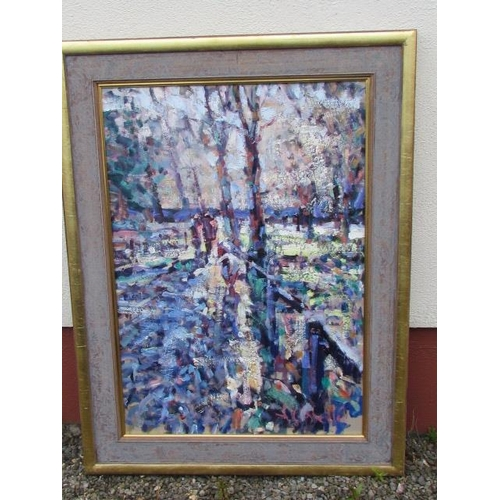 521 - Arthur Madderson 'Two Men Walking with Goat' Oil on Board with Bespoke Frame 100cm x 70cm