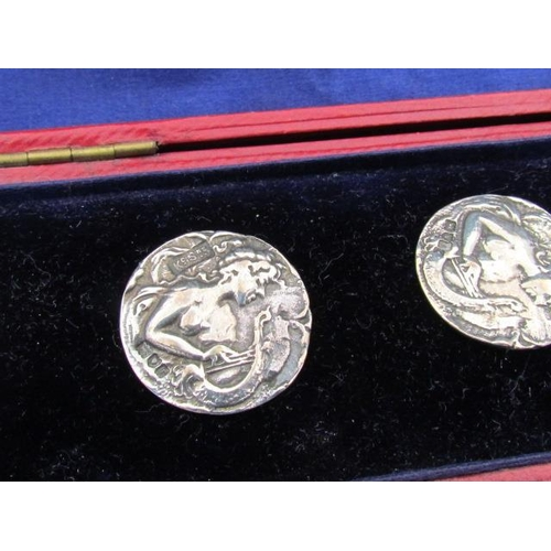 522 - Antique Six Solid Silver Buttons in Display Box