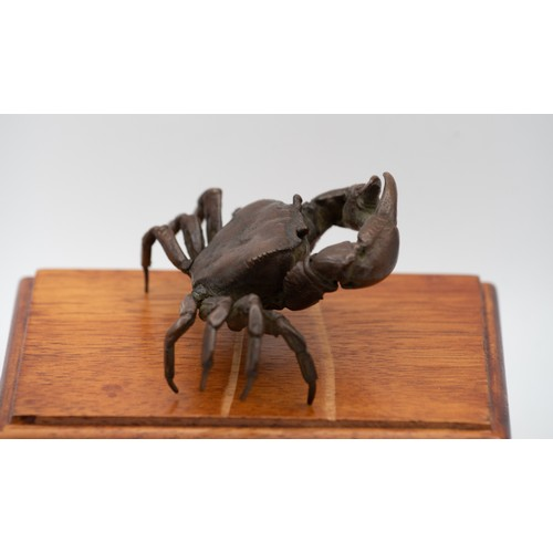 1000 - Large Japanese Bronze Crab Figure Attractively Detailed Signed with Impressed Workshop Mark to Base