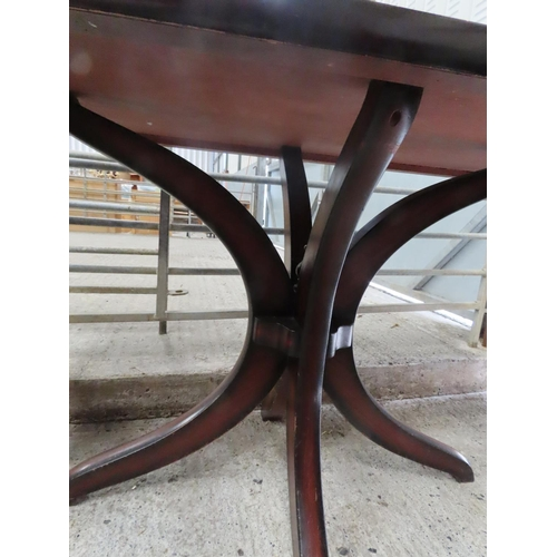 13 - Modern Hardwood Rectangular Form Table Approximately 30 Inches High x 34 Inches Wide