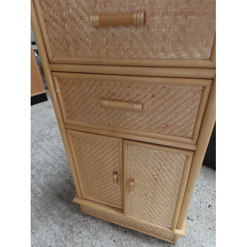 14 - Pine and Rattan Side Pier Cabinet Approximately 19 Inches Wide