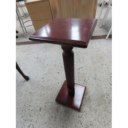 16 - Carved Mahogany Torcher Square Form Top and Base Approximately 26 Inches High