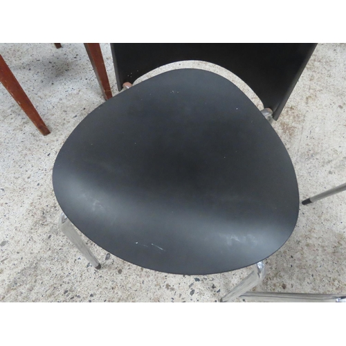 20 - Three Designer Chairs Chrome Plated Supports
