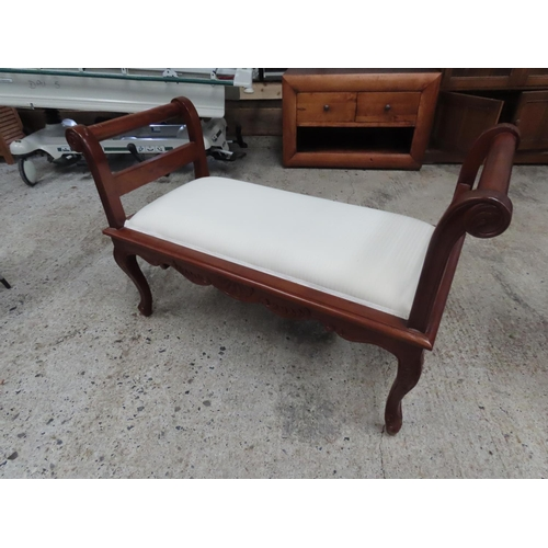 21 - Mahogany Framed Duet Seat with Upholstery above Carved Cabriole Supports Approximately 46 Inches Wid...