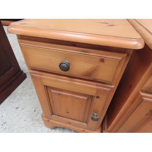 23 - Pair of Pine Side Lockers Single Drawers Cupboard Bases