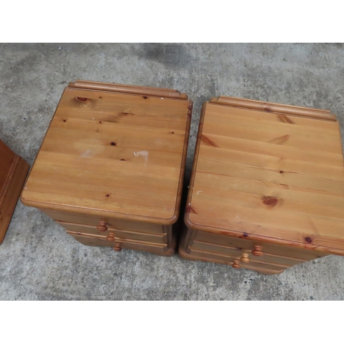 25 - Pair of Pine Three Drawer Side Lockers