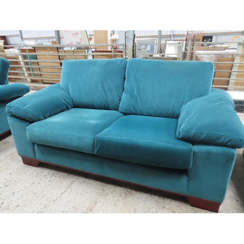 27 - Two Seater Designer Settee Upholstered in Plush Velvet Approximately 6ft Wide