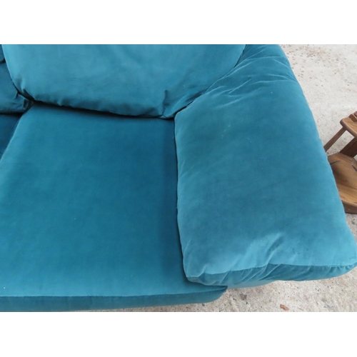 28 - Matching Two Seater Designer Settee Upholstered in Plush Velvet Approximately 6ft Wide