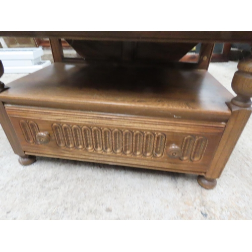 30 - Ercol Side Table with Single Long Drawer Approximately 3ft Wide