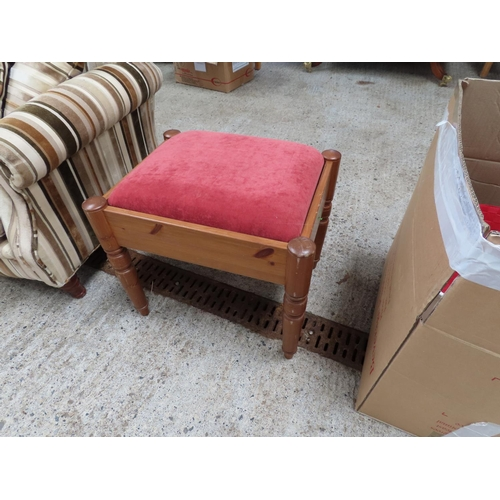 Pine Frame Stool with Upholstered Seat