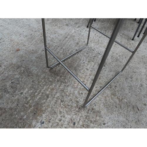 34 - Modern Designer Stool Chrome Plated Supports