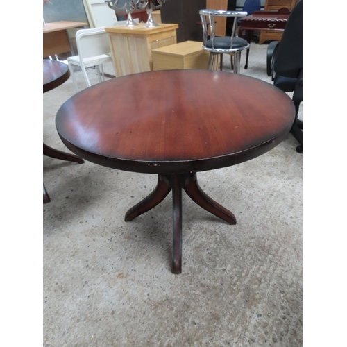 35 - Hardwood Circular Form Table Approximately 30 Inches High x 3ft 6 Inches Diameter