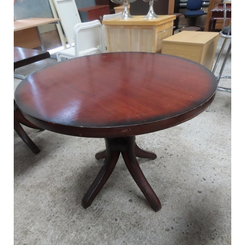 36 - Hardwood Circular Form Table Approximately 30 Inches High x 3ft 6 Inches Diameter