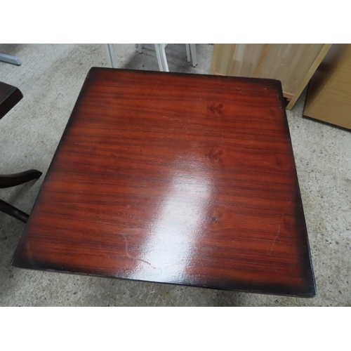 37 - Square Form Hardwood Table Approximately 30 Inches High x 3ft Square