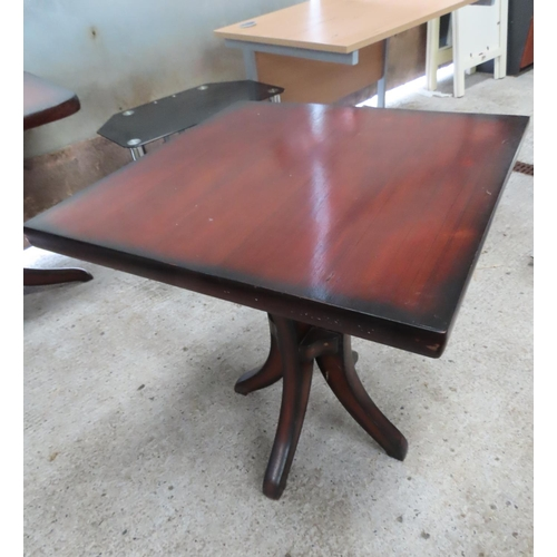 38 - Square Form Hardwood Table Approximately 30 Inches High x 3ft Square