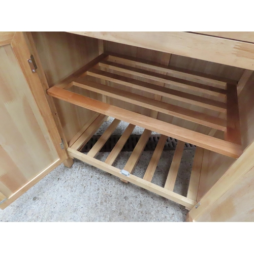 41 - Pine Cupboard Door Single Drawer Side Cabinet Approximately 2ft 6 Inches Wide