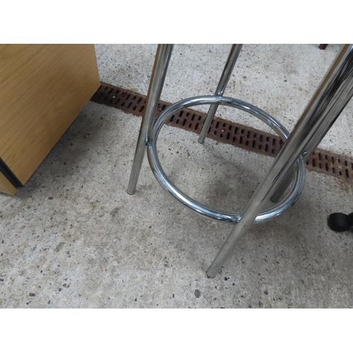 43 - Designer Chrome Plated Stool Upholstered Seat