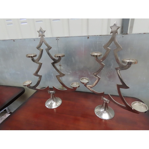 45 - Pair of Modern Chrome Plated Tree Motif Candle Rests Each Approximately 12 Inches High