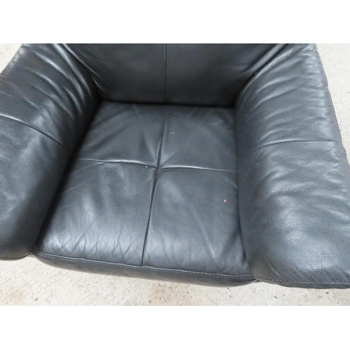 46 - Leather Upholstered Easy Armchair Chrome Plated with Swivel Base Attractively Detailed