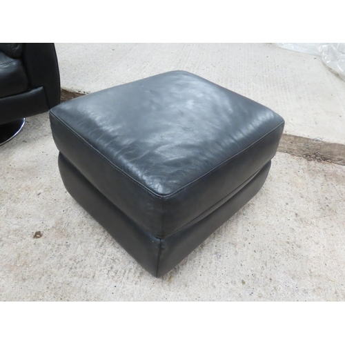 47 - Matching Leather Upholstered Lift Top Square Form Ottoman Stool Approximately 22 Inches Square