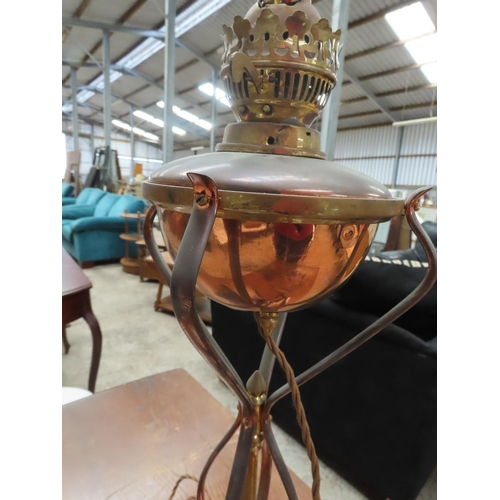 51 - Antique Cast Brass and Copper Table Oil Lamp Now Electrified Approximately 28 Inches High