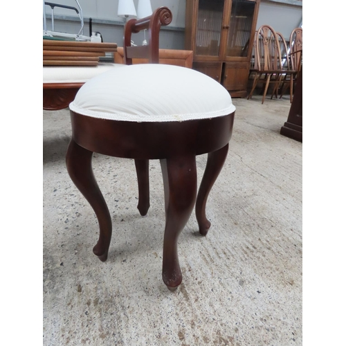 53 - Circular Form Carved Mahogany Stool with Upholstered Seat Approximately 12 Inches Diameter