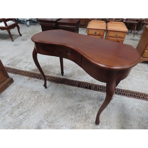 54 - Carved Mahogany Kidney Shaped Side Table Single Drawer above Cabriole Supports Approximately 44 Inch...