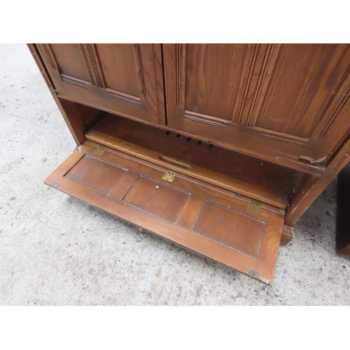 60 - Ercol Panelled Side Television or Entertainment Cabinet Twin Drawers above Single Long Drawer Attrac...