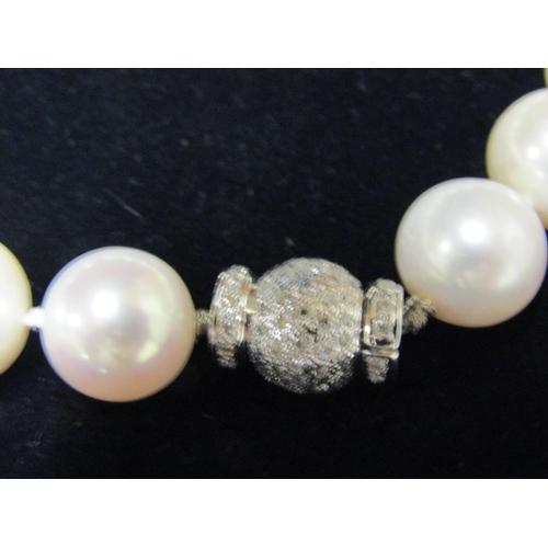 1 - Fine 18 Carat Gold Pearl Set Diamond Clasp Aquamarine Pear Cut Pendant Necklace Diamonds Approximate...