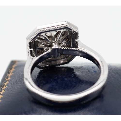 11 - 18 Carat White Gold Set Ladies Diamond Emerald Cut Ring with Further Cut Diamond Surrounds and Diamo...