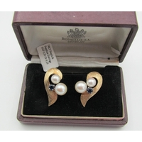 Pair of 18 Carat Pearl and Sapphire Set Ladies Earrings Vintage Each Approximately 3cm High