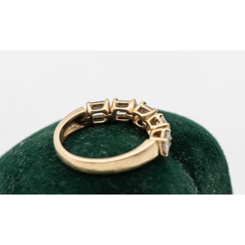 13 - Emerald Cut Diamond Five Stone Ladies Ring Mounted on 18 Carat Yellow Gold Diamonds Total Approximat...