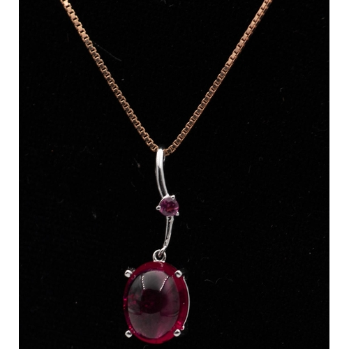 17 - Cabochon Cut Rubilite Ladies Pendant Necklace Mounted on 18 Carat Gold Further Set on 18 Carat Gold ...