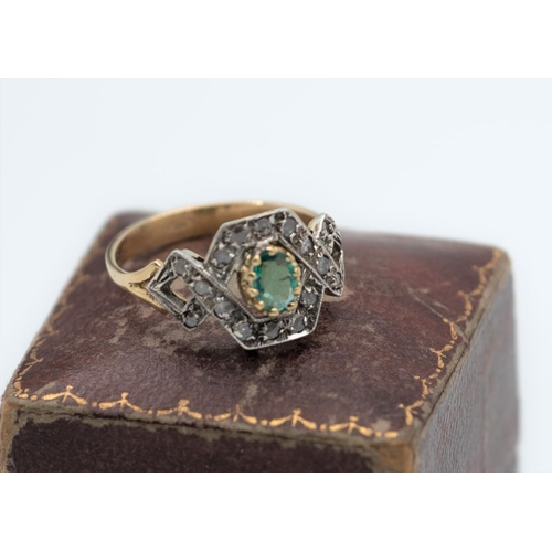 20 - 14 Carat Yellow Gold Ladies Emerald and Diamond Ring Size T and a Half