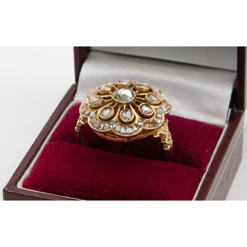 25 - Rose Cut Diamond Cluster Ladies Ring Cluster with Rose Cut Diamonds Grain Set to Centre with Radiati...