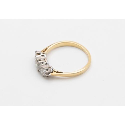 26 - Three Stone Ladies Diamond Ring Row of Graduated Brilliant Cut Diamonds Claw Set in White Gold to Ye...