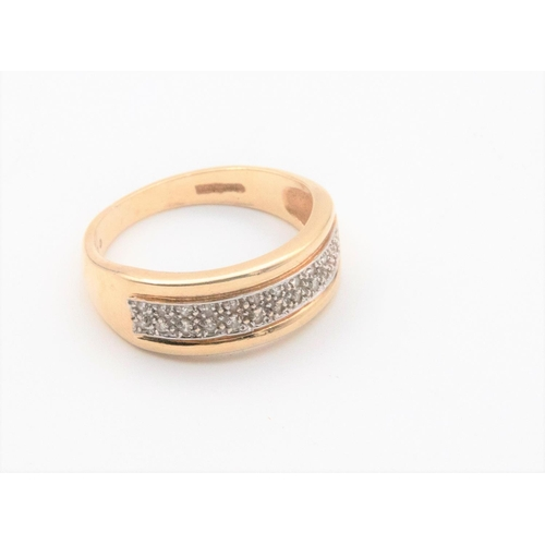 27 - 9 Carat Gold Twin Row Diamond Ring Two Rows of Eight Cut Diamonds Grain Set to Polished Guards and T...