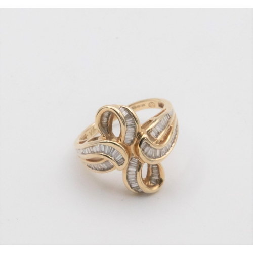 29 - Ribbon Design 14 Carat Gold Ladies Diamond Ring Channel Set with Baguette and Tapered Cut Diamonds H...