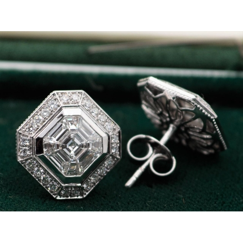 3 - Pair of Emerald Cut Diamond Ladies Earrings Each Earring Centre Stone 1 Carat with Various Other Dia...