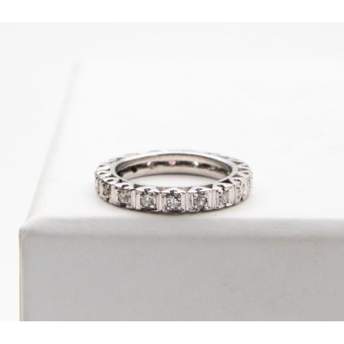 32 - 14 Carat White Gold Diamond Set Full Loop Pendant or Eternity Ring Continuous Row of Eight Cut Diamo...