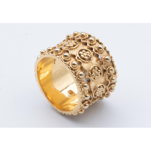 33 - Etruscan Revival 9 Carat Gold Ladies Ring Circa 1970 Wide Band with Bead and Twist Wire Decoration H...