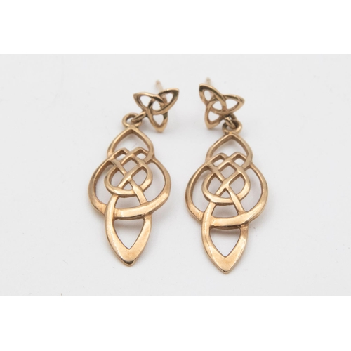 34 - Pair of 9 Carat Yellow Gold Open Work Celtic Design Ladies Drop Earrings with Post Fittings Hallmark...